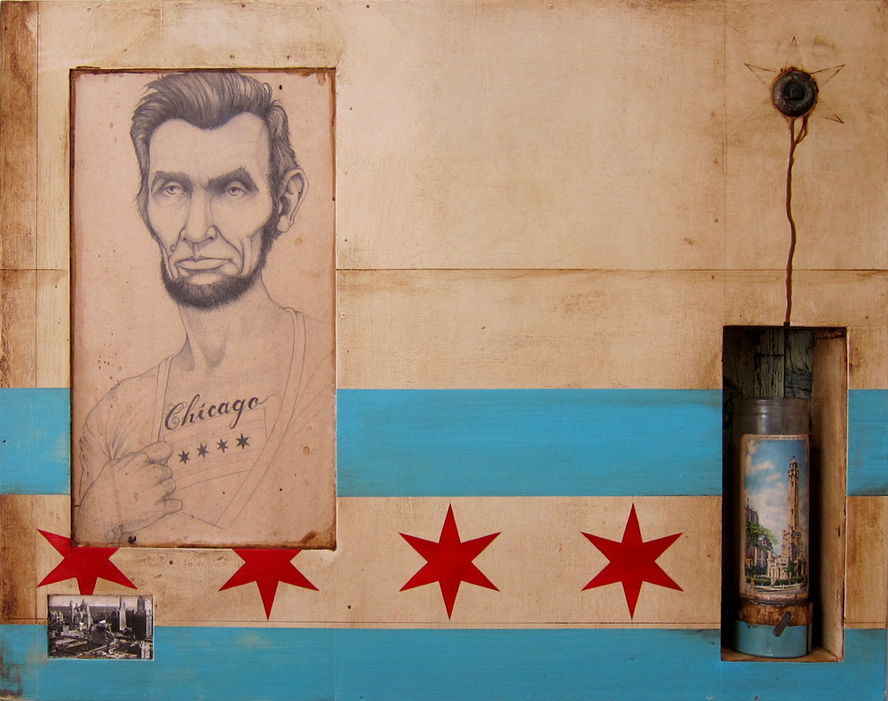 """hipster abraham lincoln. 30"""" x 32"""". chicago private collection"""