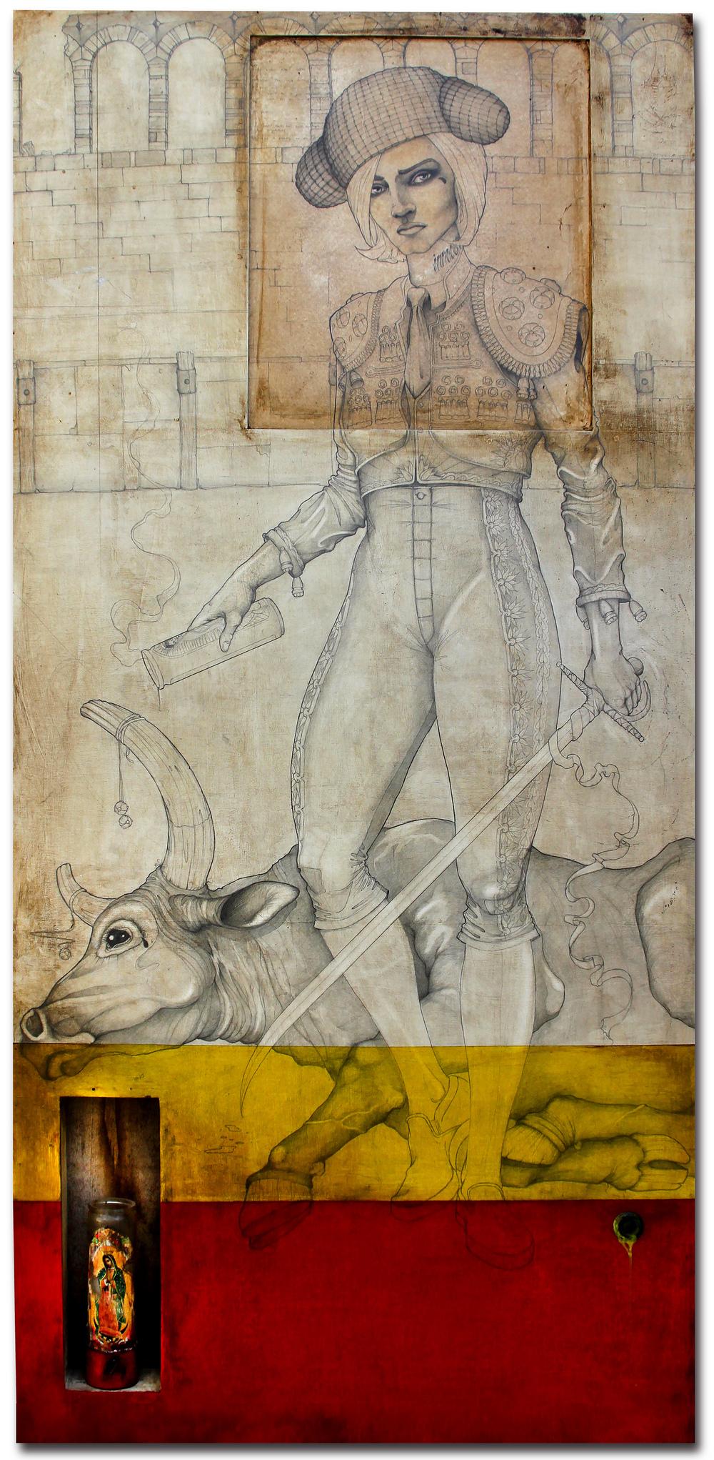 "female matador from monterrey. 68"" x 32"". $5500"