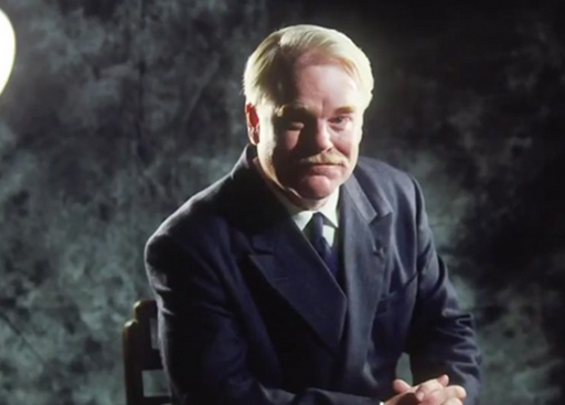 Philip Seymour Hoffman looking very much the cult leader as Dodd.