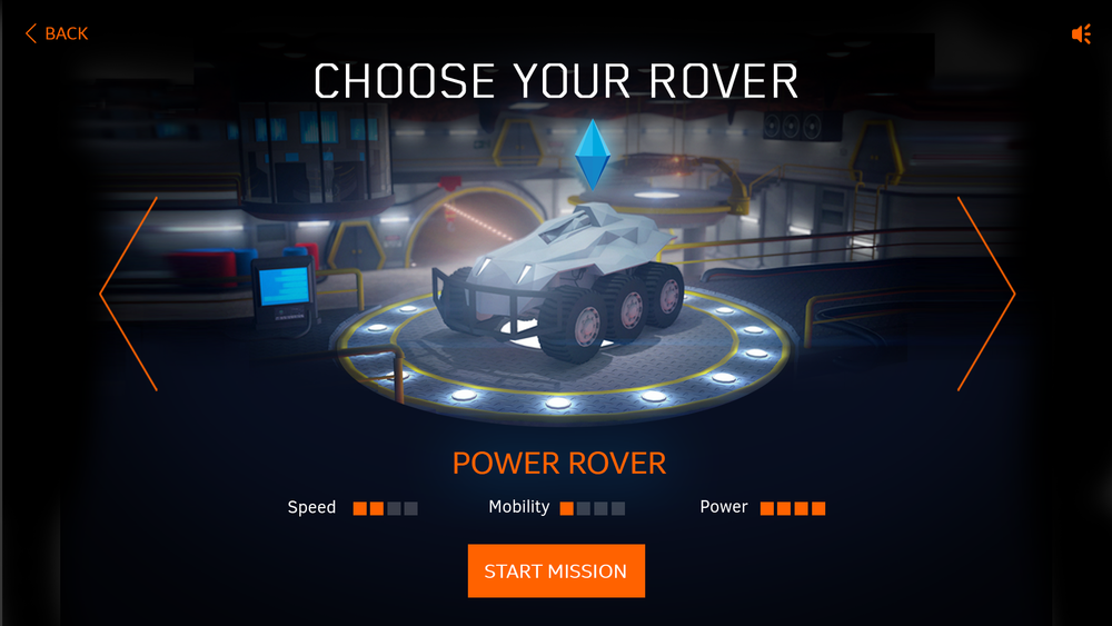 Select one of 3 Rovers in the Garage