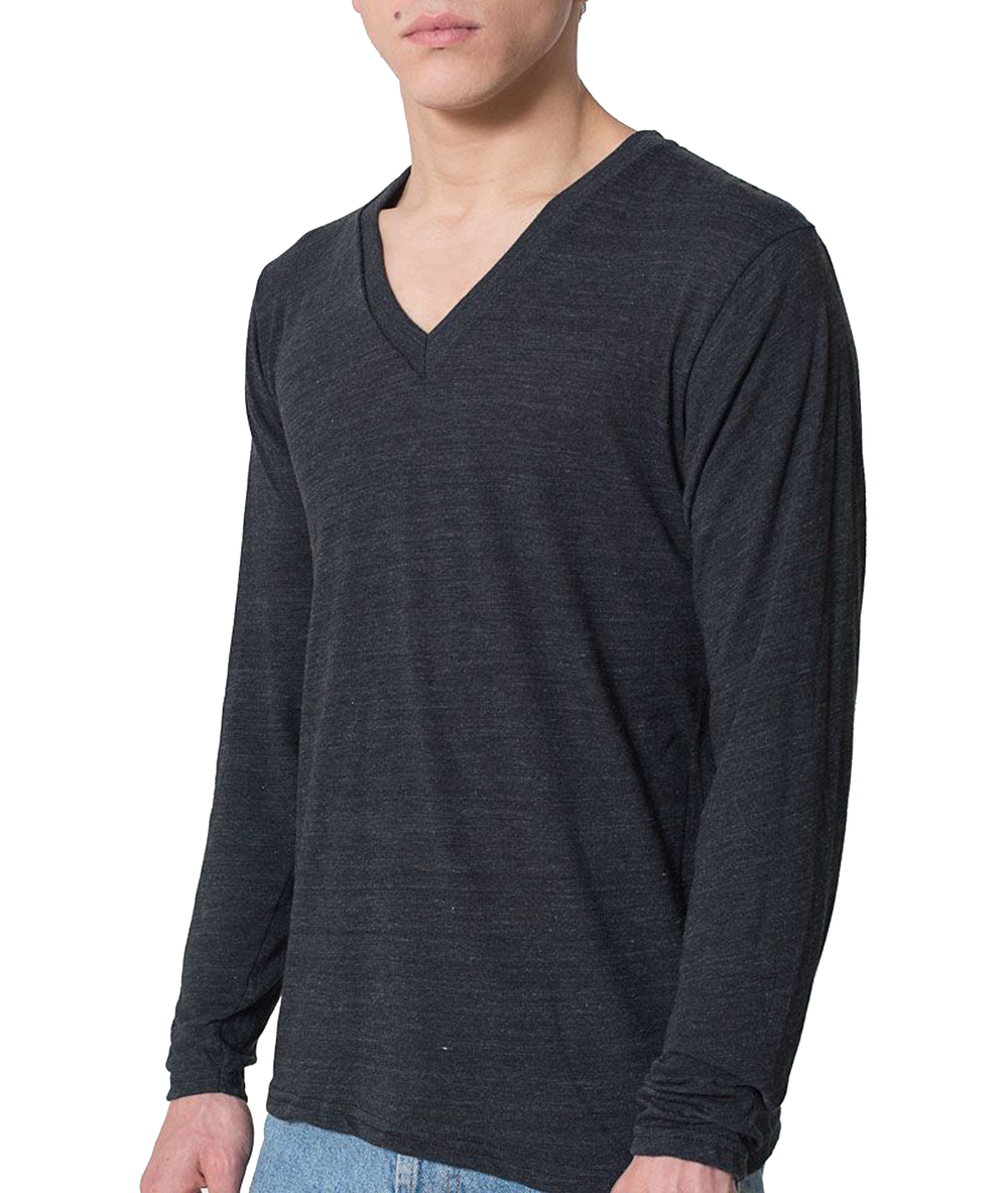American Apparel Long Sleeve Triblend V-Neck