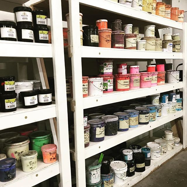 Picking out colors for your order can be tricky with so many options available, but we love helping clients pair colors and ink with their garment and design! . . . #cbusgram #indianolaavenue #asseenincolumbus #newshop #inkfordays #color #pantone #artwork #prints #screenprinting