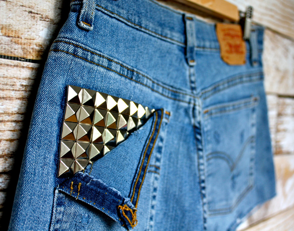 Silver Studded Levis - $29