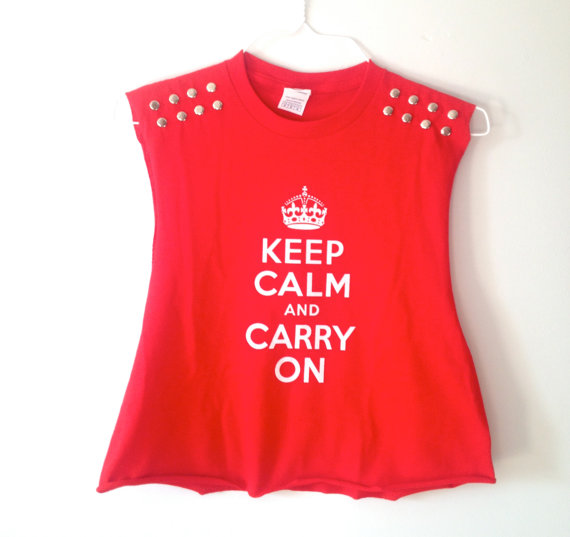Keep Calm & Carry On Studded Crop Top - $15
