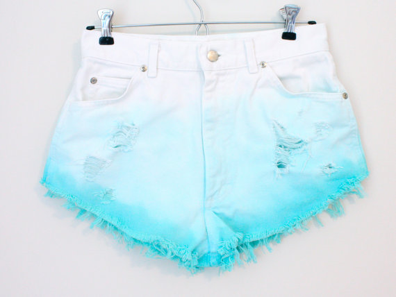 Dip Dyed Turquoise Shorts - SOLD OUT