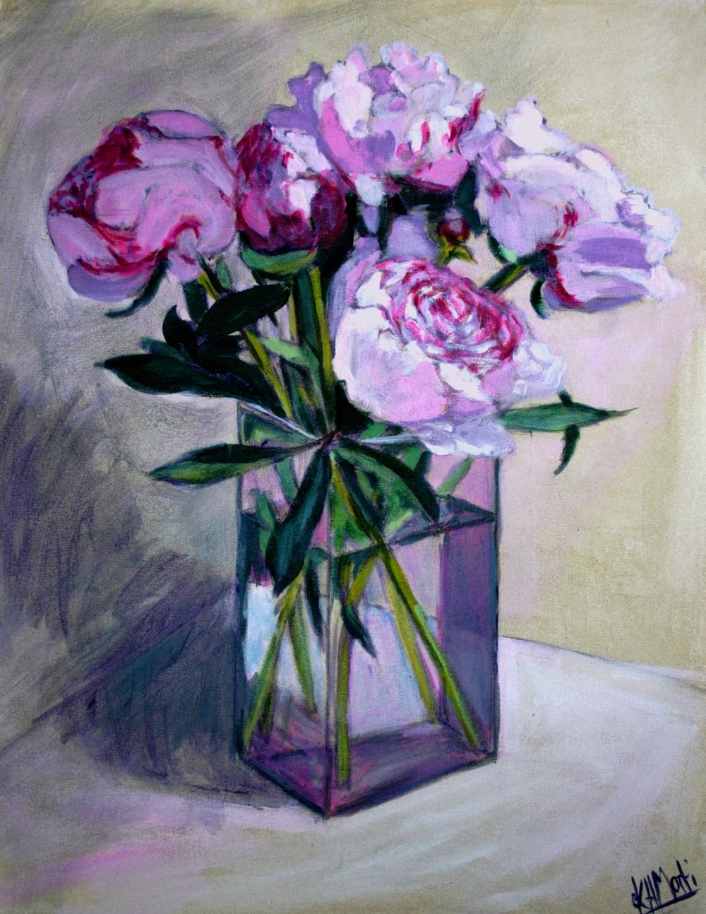 Peony Roses in Rectangular Vase by Karen Mortimore.JPG