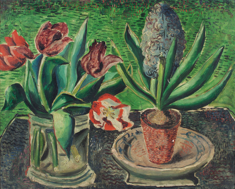 Tulips & Hyacinths, by Christopher Wood (dated 1926), oil on canvas.