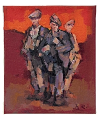 David Randal Davies' 'Three Workers - A Memory of Wales', acrylic on canvas.
