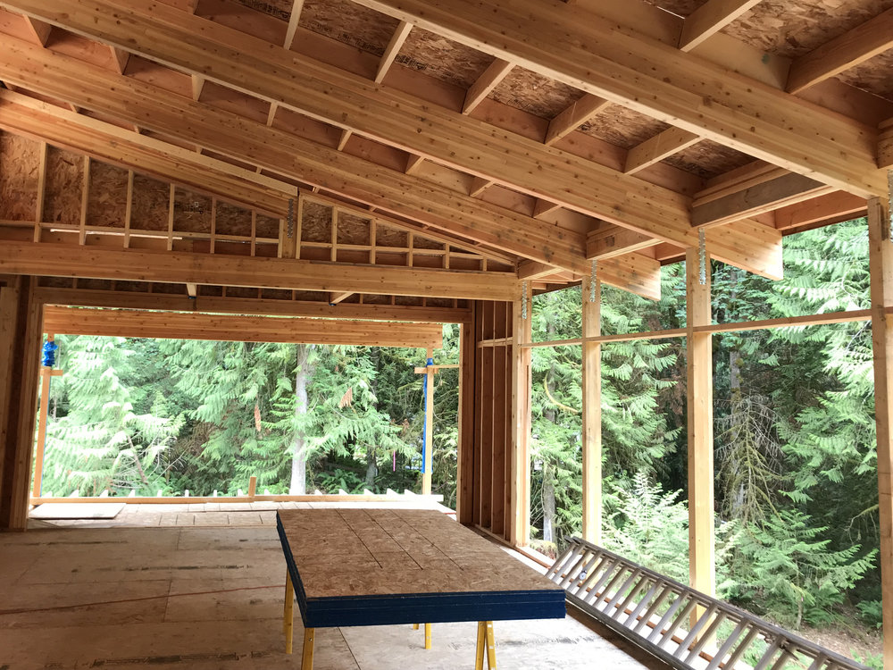 Lifting the roof for the clerestory creates a sloped roof over great room. The laminated beans which will remain exposed in the finished house, draw the eye through the window wall to support the 2' deep overhangs and draw the eye down to the view.