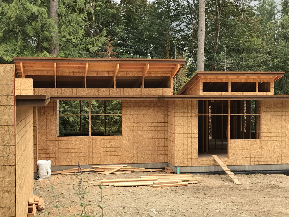 The view side of the house faces north (no direct sunlight.  By lifting the roof with a clerestory, we admit southern sunlight directly into the center of the house.