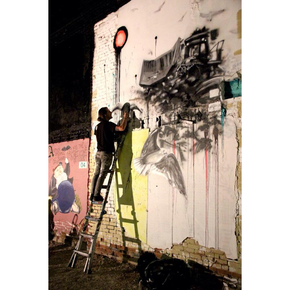 """""Industry Flight"" (In Progress). Aerosol on Brick and Concrete. 2015. Freak Alley Gallery"