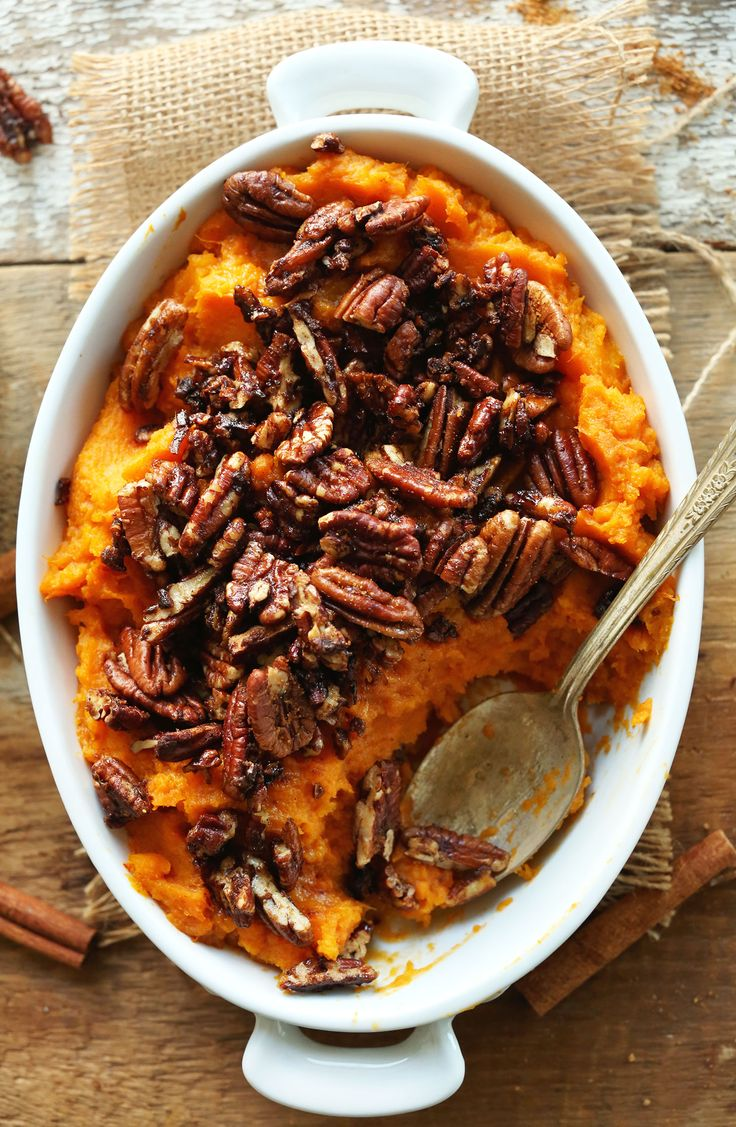 cinnamon infused butternut pecan sweet potato casserole