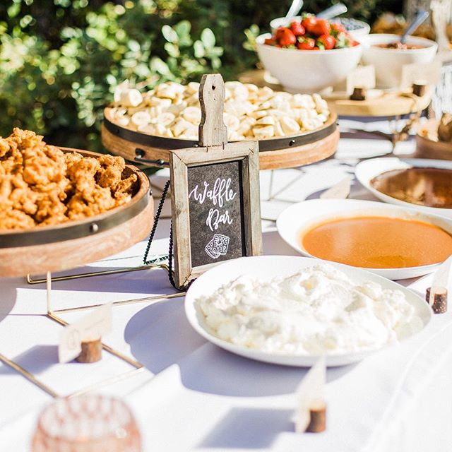 We loved this brunch wedding featuring a Parfait Bar, Waffle Bar, @cheekysps Bacon Bar, and a Build-Your-Own Chilaquiles Bar!  Photographer | @justincritzphotography  Venue | @alcazarps  Event Designer | @ltivisionevents