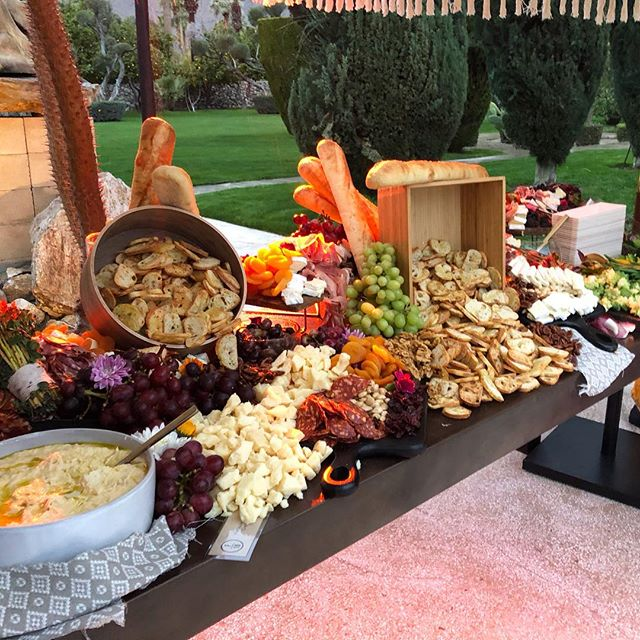 The ultimate Crostini Bar at the @modernism_week event last night benefitting @saveiconicarchitecture!  It's filled with cheese, nuts, dried fruit, fresh fruit, cured meats and fresh veggies🥖🍇🧀🍓