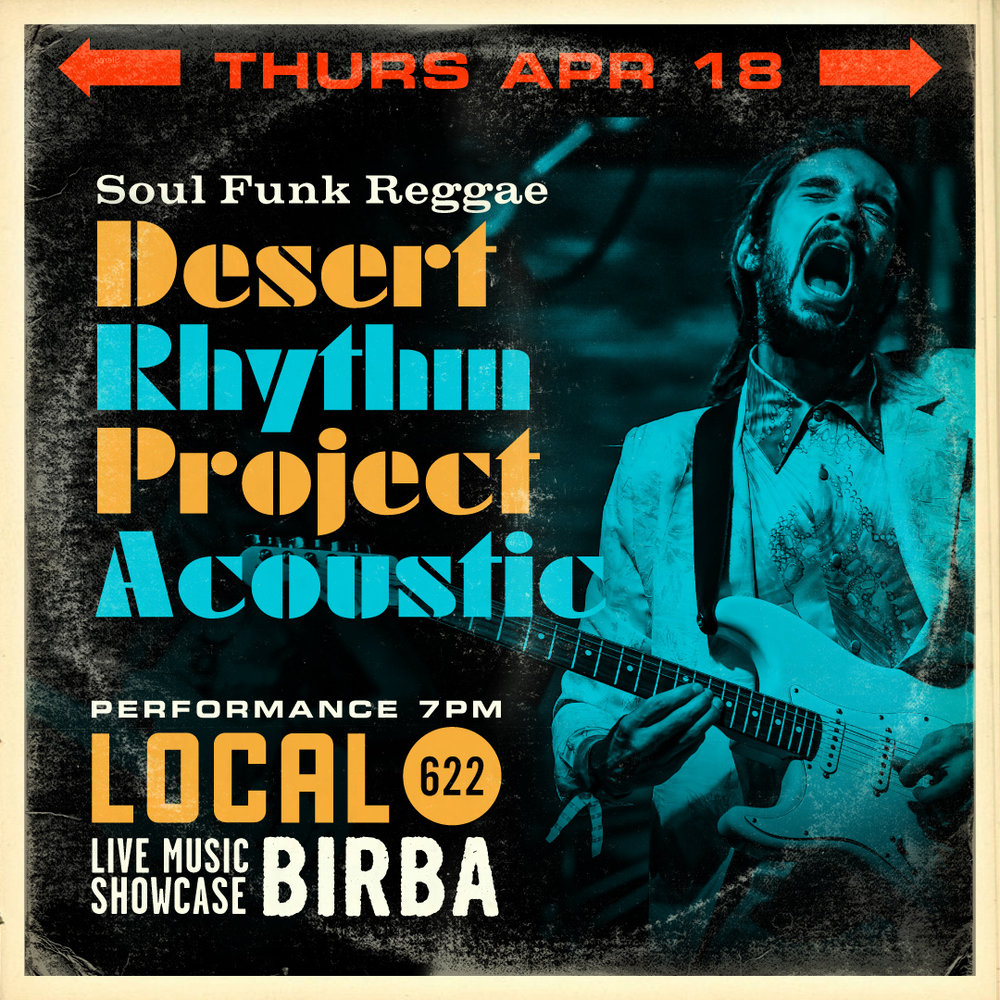 4/18 - Desert Rhythm Project Acoustic (Soul, Funk, Reggae)    Desert Rhythm Project Is A Neo-Roots, Reggae, Funk, Soul Band From California's Mojave Desert. Fronted By Desert Natives Michael Reyes And Bryanna Evaro Who Have Created Their Own Unique Style Comprised Of Soulful Harmonies, Effortless Melodic Guitar Techniques, And Smooth Elemental Bass Rhythms. Michael Reyes' Dynamic Presence On Lead Vocal And Guitar Is Reminiscent Of The Soulful And Energetic James Brown Combined With The Appreciative Ethereal Consciousness Of Reggae Legend Bob Marley. Bryanna Evaro's Timeless Velvety Folk-Roots Presence On Bass Guitar And Vocals Lends Herself As The Crowning Essential Counterpart Of This Celebrated Divine Duo.    http://www.desertrhythmproject.com    http://www.facebook.com/desertrhythmproject.com