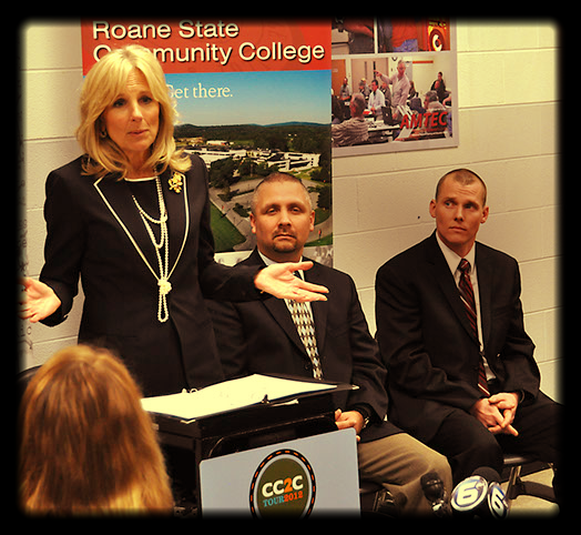 Jill Biden, wife of US Vice-President Joe Biden, visits the campus of Roane State Community College to highlight the quality of education offered by the country's vast community college system.