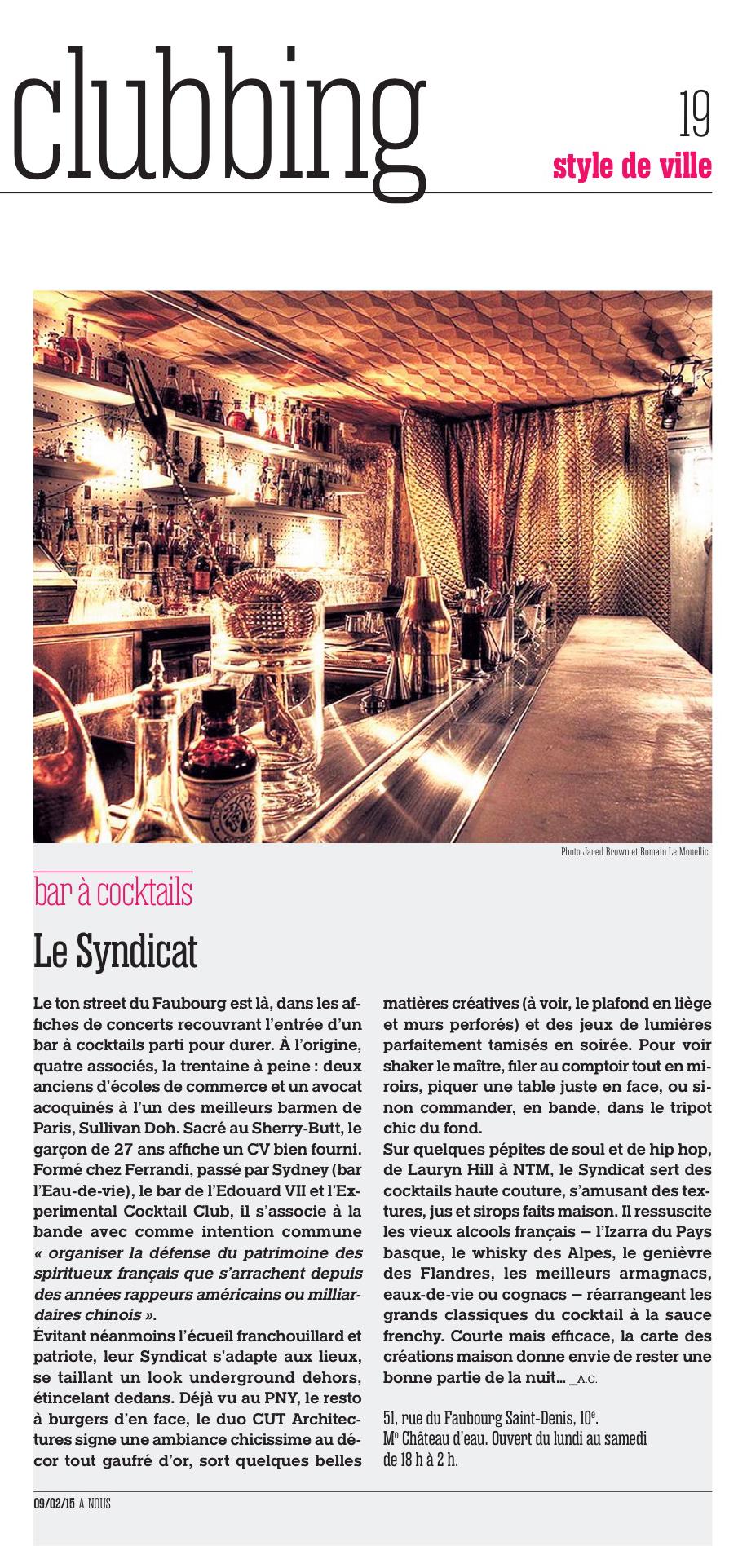 Le Syndicat Cocktail Bar In à Nous Paris Magazine Cut Architectures