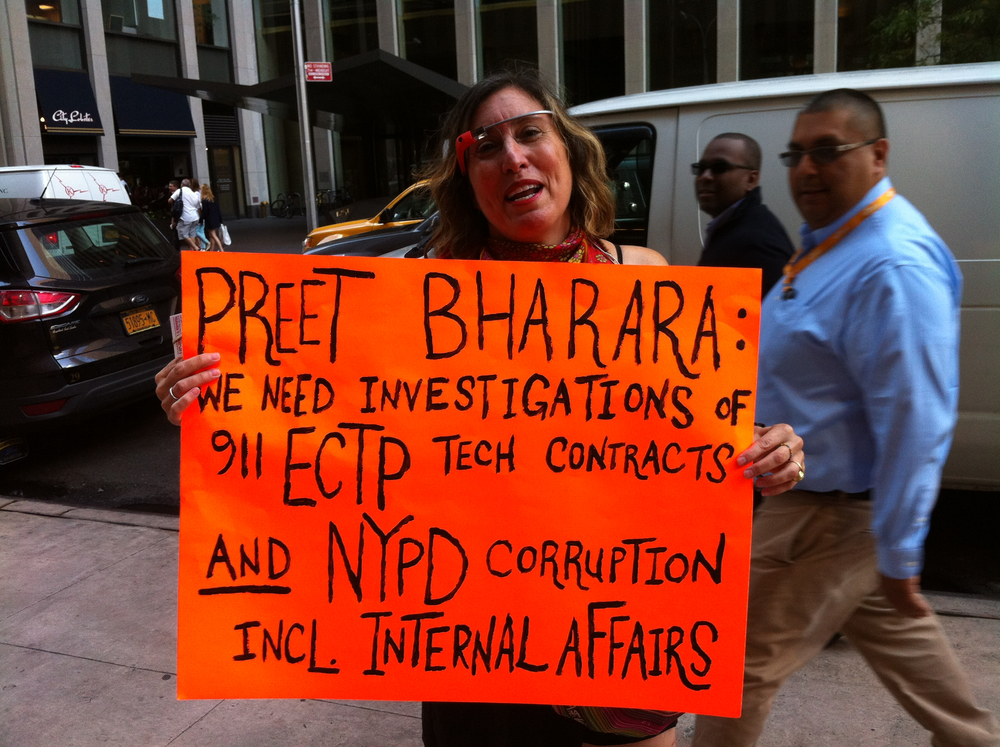 The artist and online political comentator Suzannah B. Troy demanded federal investigations into each of the corrupt 911 ECTP technology contracts and the New York Police Department, including its Internal Affairs Bureau.  Source :  Louis Flores