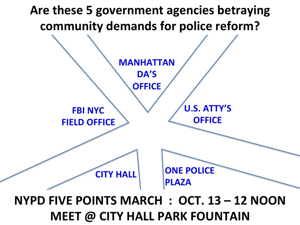 Some activists are planning on marching to five government offices, where officials have jurisdiction over police misconduct, to demand an investigation into corruption at the New York Police Department, including its troubled Internal Affairs Bureau.      Source   :  Louis Flores