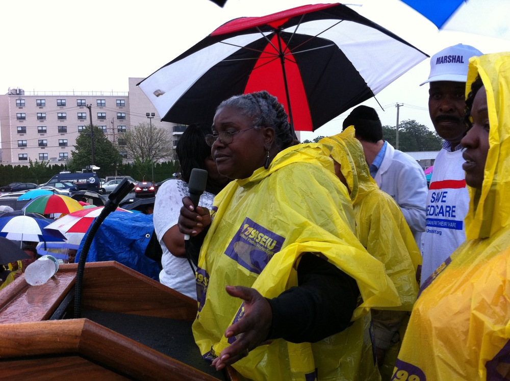 1199's Florence Johnson speaking at a rally outside Peninsula Hospital Center in Far Rockaway, Queens, on August 3, 2011.  Source :  Louis Flores