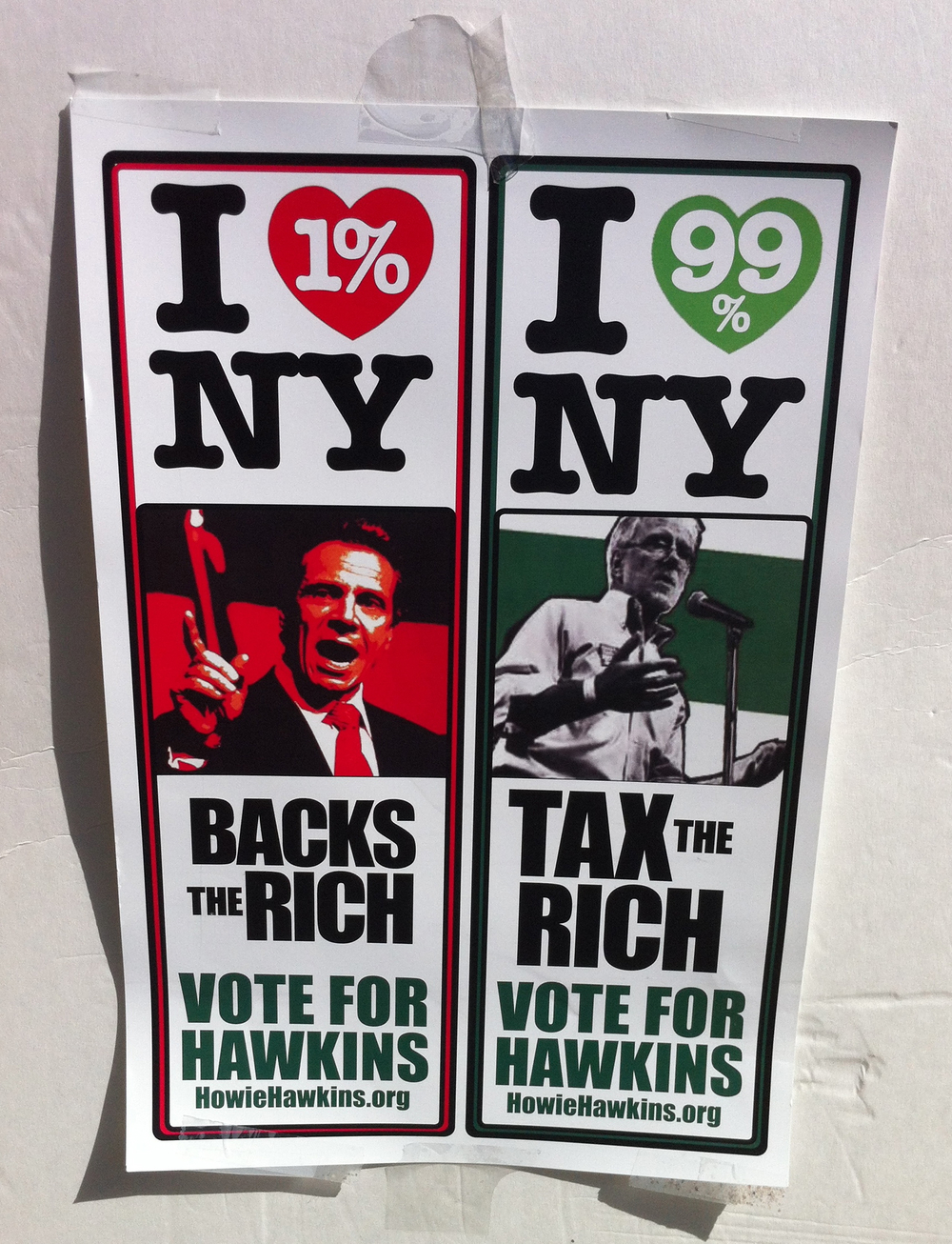 At the farmers' market in Jackson Heights on Sunday, volunteers for Howie Hawkins' gubernatorial campaign distributed flyers and displayed the campaign's latest illustration that was also being circulated via social media.  Source :  Louis Flores