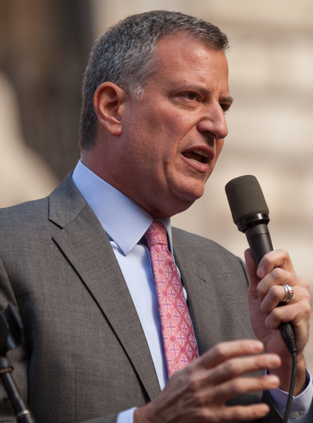 New York City Mayor Bill de Blasio is allowing the city's top municipal prosecutors to treat low-level marijuana possession cases differently between the city's five boroughs, ignoring the racial disparities in such arrests and outraging advocates for law enforcement reform.  Source : CC 2.0 by Kevin Case/Wikipedia