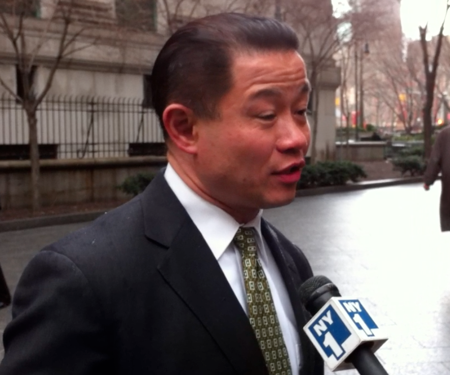 Former New York City Comptroller John Liu, speaking to the media on March 28, 2013, about the discriminatory use by the New York Police Department of the policing tactic known as stop-and-frisk.  As a crusader for government reform, former Comptroller Liu also led the charge to audit large technology contracts that were years behind schedule and hundreds of millions of dollars over-budget, like the troubled ECTP upgrade.  Source : Louis Flores