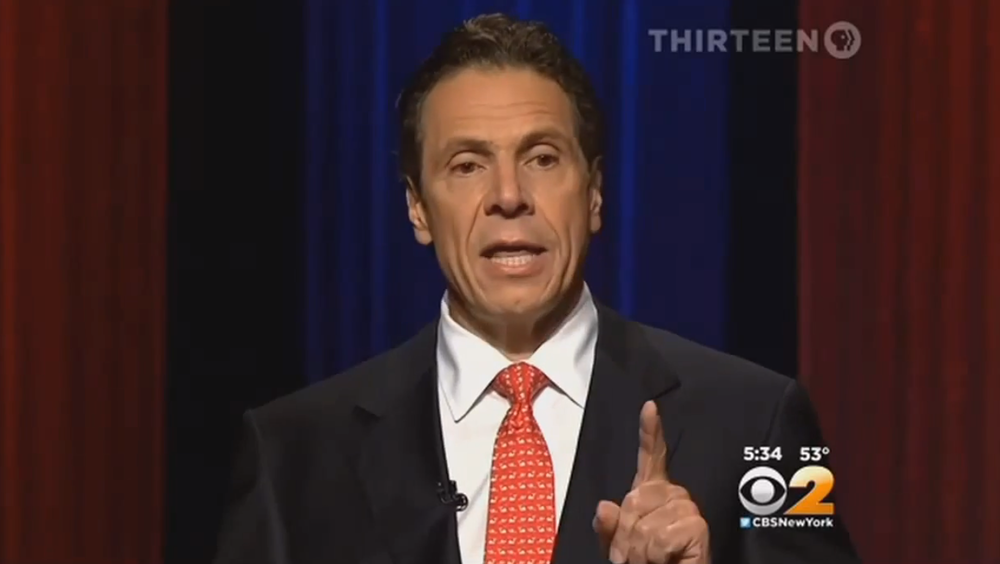 Gov. Andrew Cuomo (D-NY) speaking at last week's gubernatorial debate.  Gov. Cuomo refused to address that evening then two issues raised by County Executive Rob Astorino (R-Westchester), and his Press Office refused to speak to those issues when given an opportunity today by Progress Queens.  Source :  WNET 13/CBS2 News/YouTube Screen Shot