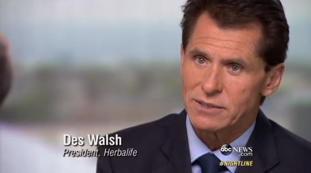 Des Walsh is President of Herbalife.  Representatives of Herbalife promised to respond to a request by Progress Queens for an interview, but no response was ever made.  Source :  ABC News/YouTube Screen Shot