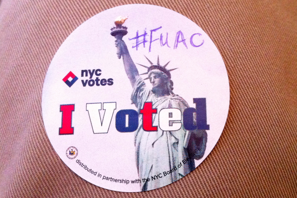 A voting sticker distributed by poll workers in New York City was marked with a hashtag being used on Twitter to express extreme displeasure with Gov. Andrew Cuomo (D-NY).  Source : Photo Illustration/Louis Flores