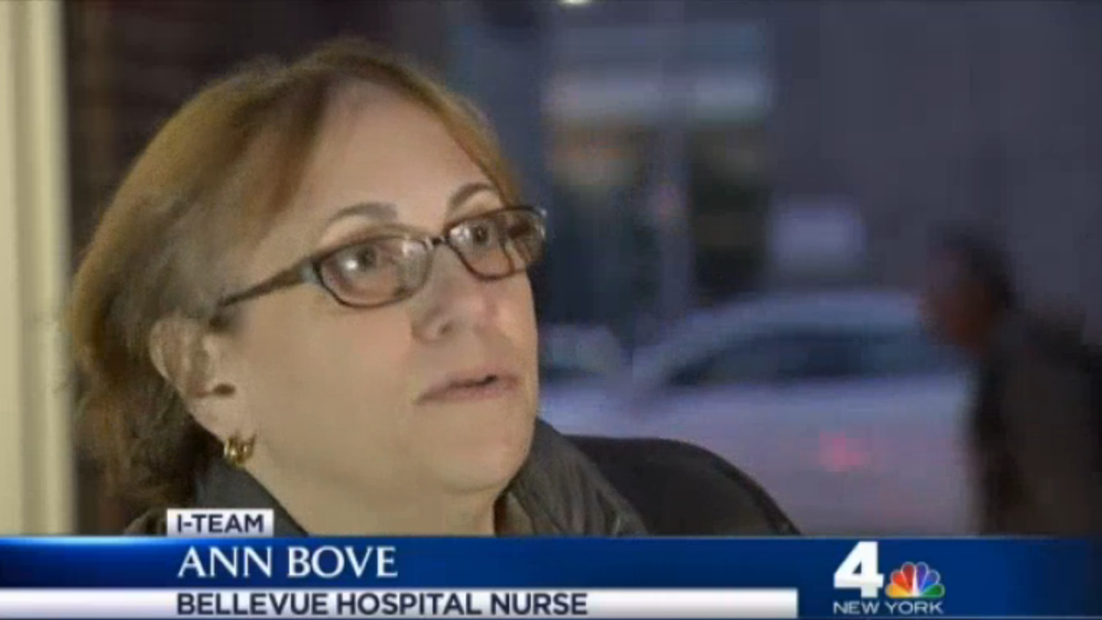 Ann Bové, R.N., a nurse at Bellevue Hospital, wrote a letter to Sen. Charles Schumer (D-NY) and Sen. Kirsten Gillibrand (D-NY), which triggered, just days later, the announcement of $1.6 billion in Hurricane Sandy financial assistance to four of New York City's public hospitals, including Bellevue.  Source :  WNBC Screen Shot