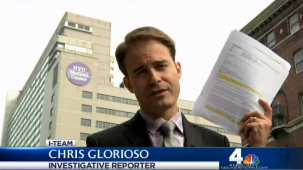Chris Glorioso , the courageous investigative journalist from  WNBC Channel 4 News , who just days ago broadcast a powerful report about languishing federal  Hurricane Sandy  financial assistance for  Bellevue Hospital .  Mr. Glorioso's report showed that  NYU Langone Medical Center  had flood insurance and benefits from a powerful network of wealthy benefactors, in sharp contrast to the financial deficits faced by Bellevue.  Source :  WNBC Screen Shot