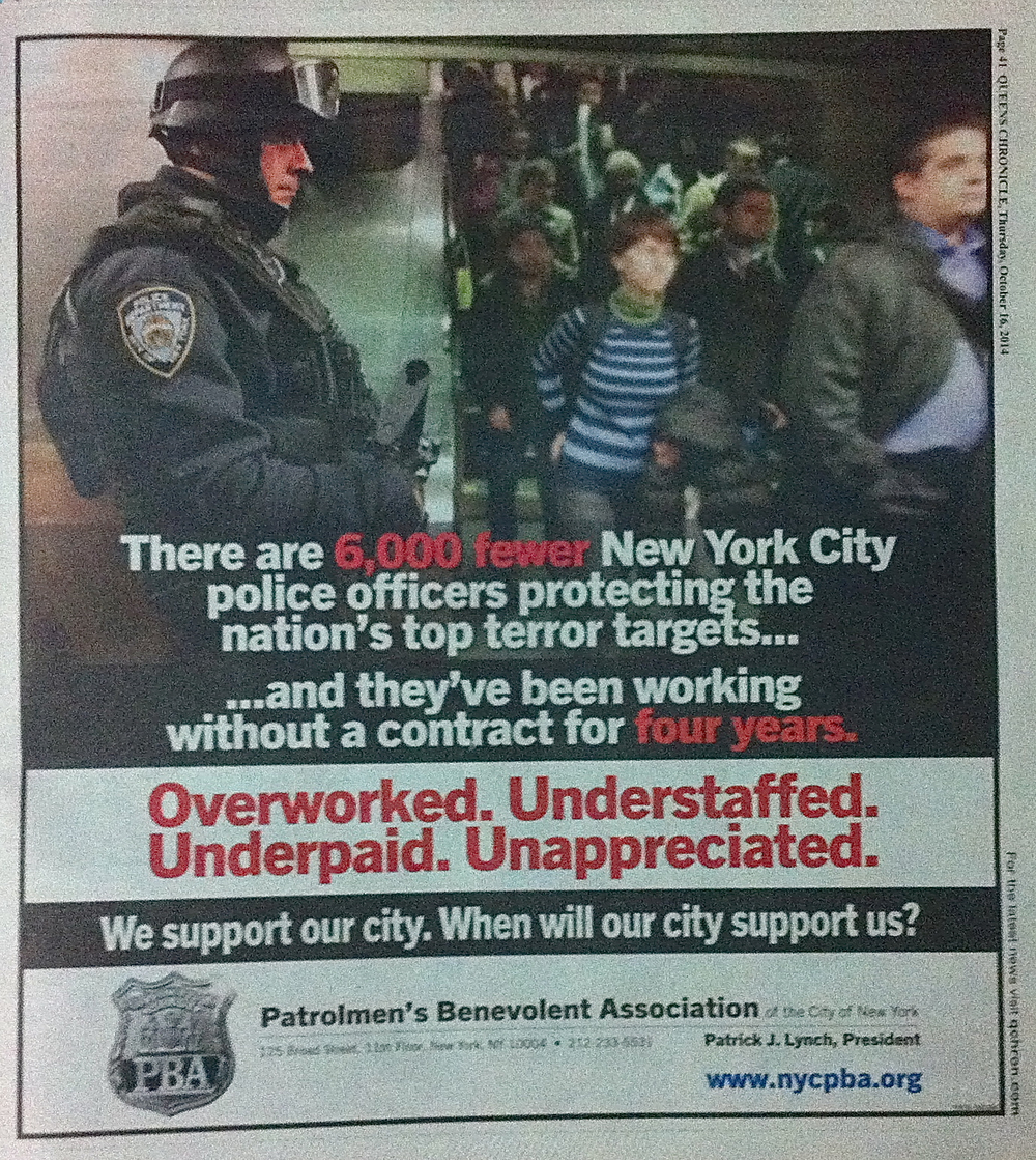 A full-page advertisement paid for by the Patrolemen's Benevolent Association and printed in the Oct. 16, 2014, edition of The Queens Chronicle.  The NYPD unions have been waging a public relations battle against City Hall.  Source :  The Queens Chronicle/Photograph by Progress Queens