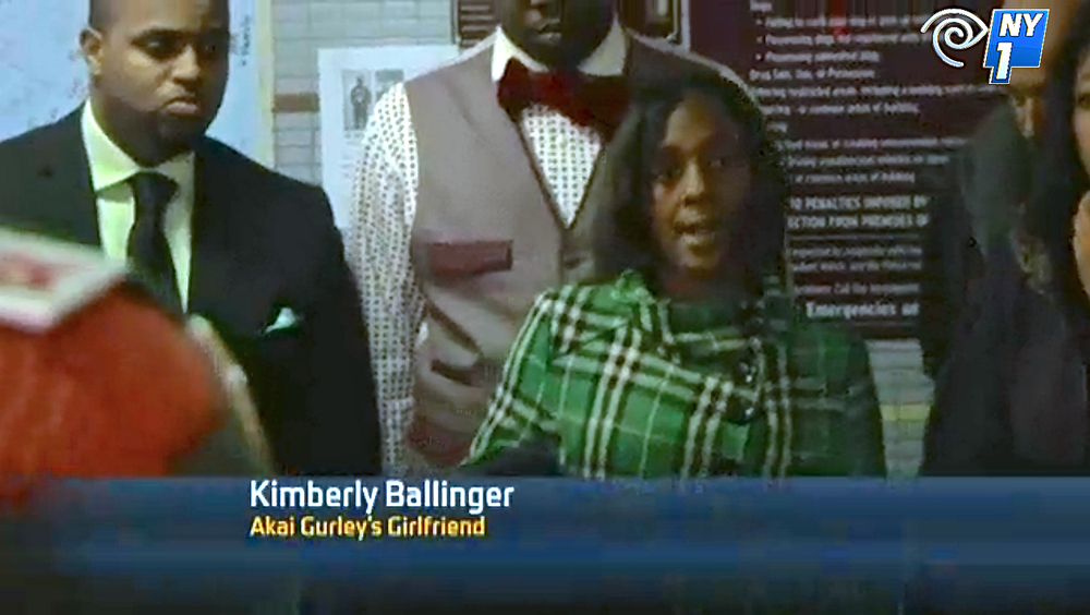 Kimberly Ballinger, Akai Gurley's domestic partner, speaking to the press at Saturday's prayer vigil in the Pink Houses.  Source :  NY1/Screen Shot