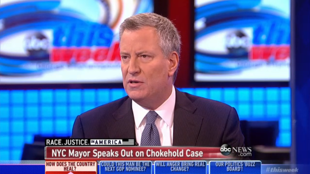 New York City Mayor Bill de Blasio told the moderator of ABC News' Sunday morning program, This Week, that he would not comment about the decision reached by a Staten Island grand jury to forego filing any criminal charges against the NYPD officer, who choked Eric Garner to death on July 17, 2014, in spite of the fact that there was video evidence documenting the chokehold.  Source :  ABC News Screen Shot
