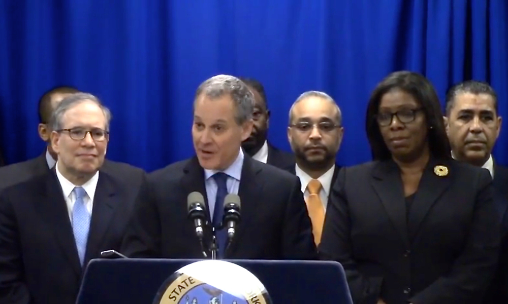 Left to right :  New York City Comptroller Scott Stringer, left, State Attorney General Eric Schneiderman, State Senator José Peralta, Public Advocate Letitia James, and State Senator Adriano Espaillat at Attorney General Schneiderman's press conference, announcing his proposal for new prosecutorial powers to investigate and, if necessary, try cases of homicide committed by police officers.  Source :  Eric Schneiderman Official Video/YouTube Screen Shot