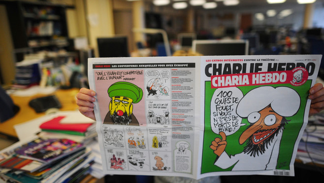 An uncredited photograph of the controversial November 3, 2011, issue of Charlie Hebdo, published by the French edition of The Huffington Post, shows the front page that The New York Daily News censored from their Web site.  Source :  The Huffington Post