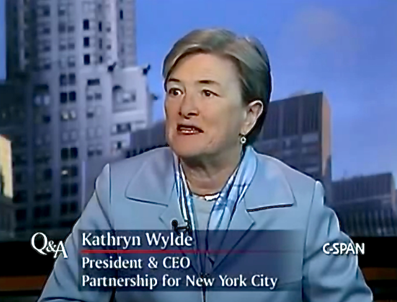 Kathryn Wylde, the president of The Partnership for New York City in a 2011 interview with C-SPAN.  Ms. Wylde represents some of the top business leaders and their companies in government and regulatory issues.  According to a report in The New York Post, Ms. Wylde is discussing ways that the business community can address lingering tensions between City Hall and the New York Police Department.  Through a spokesperson, Ms. Wylde denies the report.  Source :  C-SPAN/YouTube Screen Shot