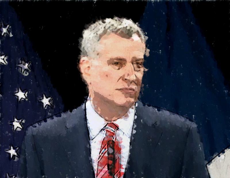 Mayor Bill de Blasio delivered his 2015 state of the city speech at Baruch College in Manhattan on Tuesday.  Source :  Photo Illustration/Progress Queens