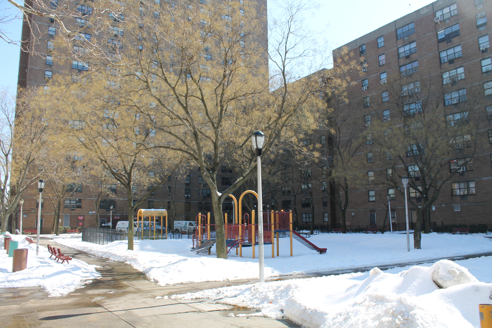 A view of the backside of 205 Avenue C, showing the park in the foreground and the parking lot in the background formed by the partial closure of East 13th Street between Avenues B and C, as seen on March 2, 2015.  Under the transaction agreements, Triborough possesses the right to develop residential and nonresidential units on the properties.  Source :  Louis Flores