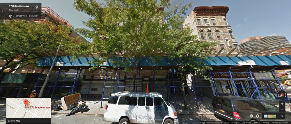 1780 Madison Avenue, obscured by a large tree, center, and 1782 Madison Avenue, right, seen here in September 2014, were included amongst a portfolio of project-based, Section 8 buildings sold by NYCHA to a consortium of private real estate developers.  Officials with the corporation counsel of the City of New York approved the transaction agreements for the sale of the buildings, which sidestepped the ULURP process.  Source :  Google Street View
