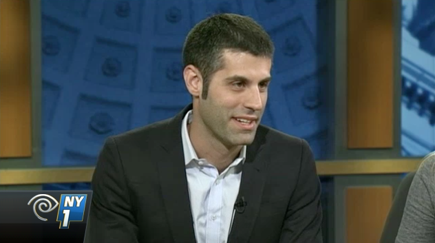 The unregistered lobbyist, Jonathan Rosen.  Source :  NY1/Screen Shot