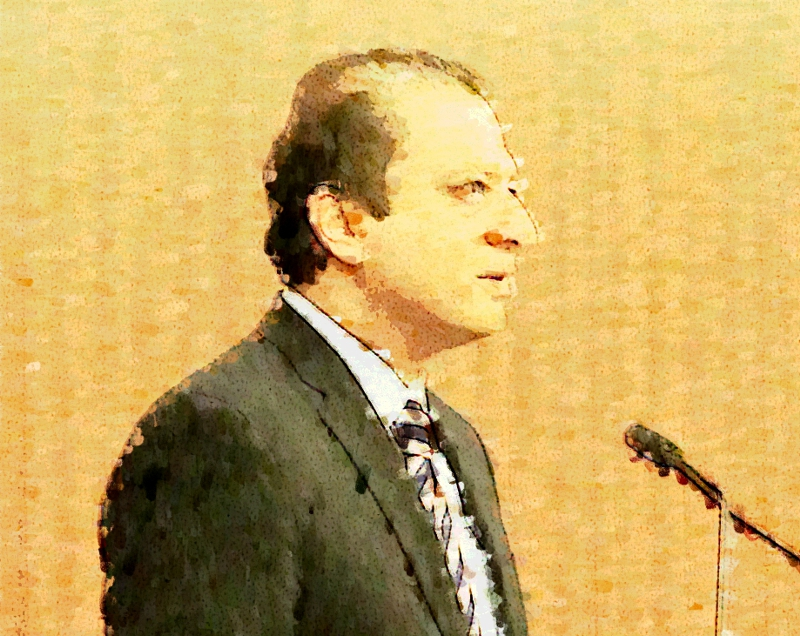 U.S. ATTORNEY PREET BHARARA DELIVERING A SPEECH ABOUT PUBLIC CORRUPTION AT NEW YORK LAW SCHOOL IN JANUARY 2015.   SOURCE :  PHOTO ILLUSTRATION BY PROGRESS QUEENS (INCLUDING A PHOTOGRAPH BY LOUIS FLORES)