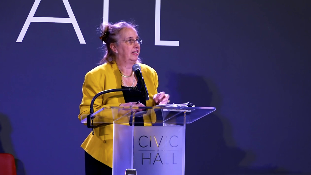 Manhattan Borough President  Gale Brewer  at a March 30, 2015 mixer at Civic Hall.  Source :  Civic Hall/YouTube Screen Shot