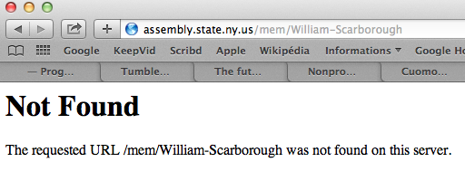 The landing page for Assemblymember  William Scarborough  on the  New York State Assembly 's Web site had been removed as of Thursday afternoon.  Source :  New York State Assembly