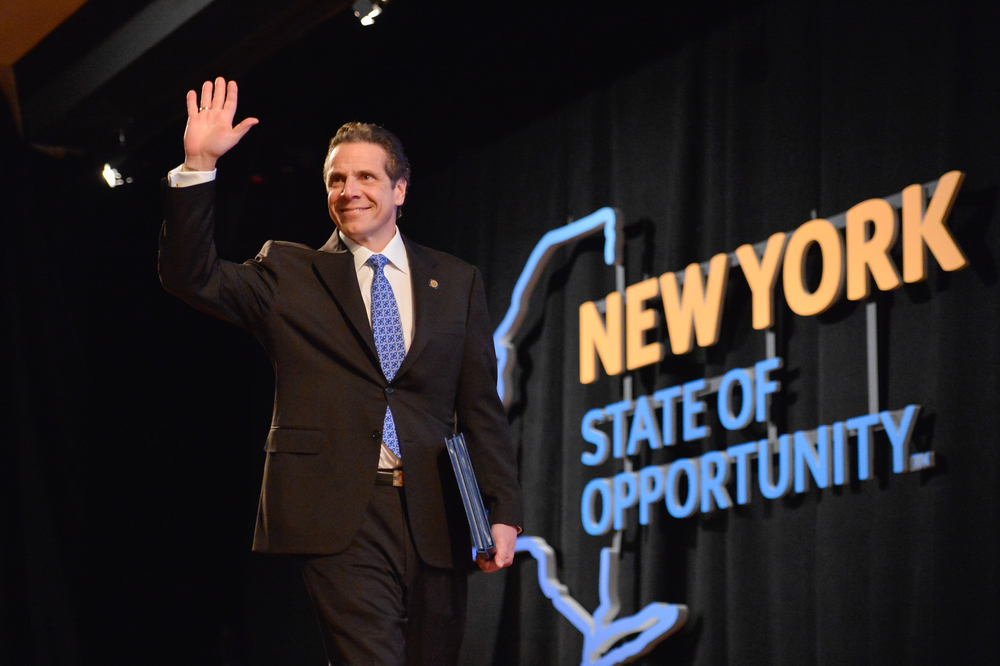 Governor Andrew Cuomo presents his 2015 Opportunity Agenda in Albany on January 21, 2015.  Activists question whether Governor Cuomo, who receives large campaign contributions from real estate developers, will act to end lucrative 421-a tax breaks that developers depend on for exorbitant profits.  Source :  Official Photograph/New York Governor's Office/Flickr