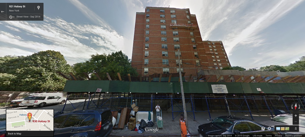 930 HALSEY STREET, Brooklyn, SEEN HERE IN SEPTEMBER 2014, WITH A SCAFFOLDING ERECTED IN FRONT OF THE BUILDING AND WORKMEN SUSPENDED IN FRONT OF THE façade.  This project-based, Section 8 building, formerly owned by the New York City Housing Authority, or NYCHA, was sold three months later.  NYCHA justified the sale, saying that this and other buildings were too dilapidated for the cash-strapped agency to maintain.  No investigative authority has publicly acknowledged to be probing the contradiction in facts that allowed the de Blasio administration to privatize NYCHA's Section 8 housing, a move which represents a win for influential real estate developers seeking to maximize profits from distressed properties.  Source :  Google Street View