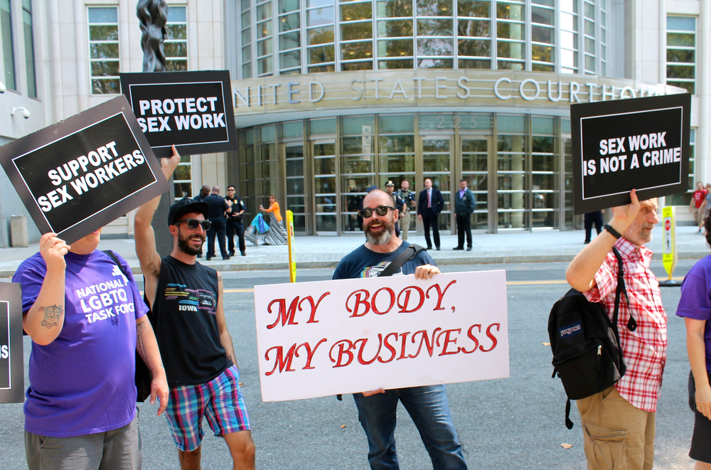 Activists outside the Brooklyn Federal courthouse oppose the criminalization of sex work, and the activists see the Federal government's case against  Rentboy.com  as an example of the kind of discrimination and prosecution of sex work that more and more human rights groups, like  Amnesty International , oppose.  SOURCE :  Louis Flores/Progress Queens