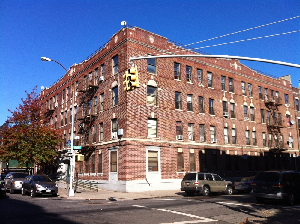 Another building owned by Renaissance Realty in Crown Heights, Brooklyn.  This apartment building is located at 285-291 Schenectady Avenue.  Tenants face crippling rent increases that will in some instances more than double their rents, despite assurances from Mayor Bill de Blasio that tenants would receive a rent freeze from the Rent Guidelines Board.  Source :  Louis Flores/Progress Queens