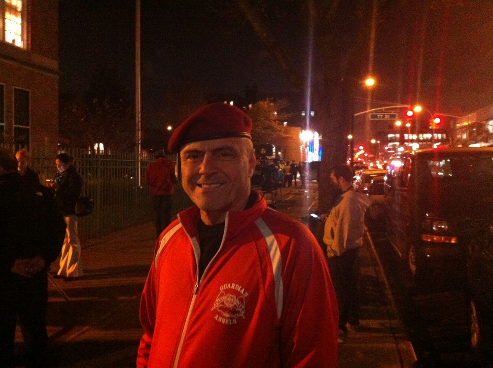 77 WABC Radio  talk show host  Curtis Sliwa  was locked out of Mayor de Blasio's town hall meeting in Jackson Heights.  Source :  Louis Flores/Progess Queens